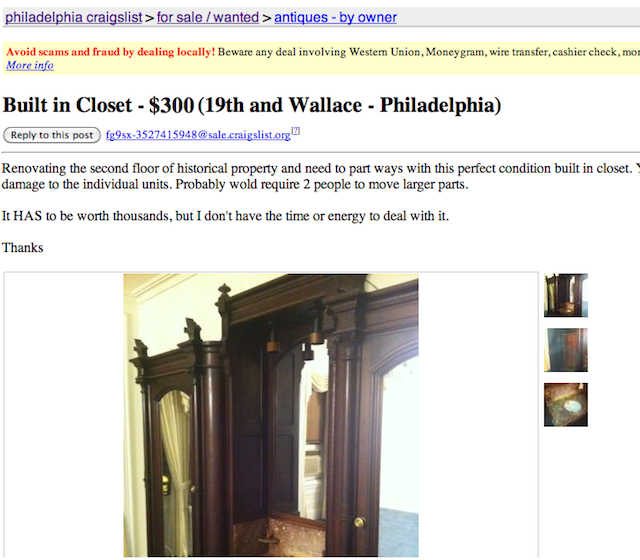 My greatest Craigslist find ever!  An antique Victorian Eastlake wardrobe, out of a Philadelphia Brownstone.