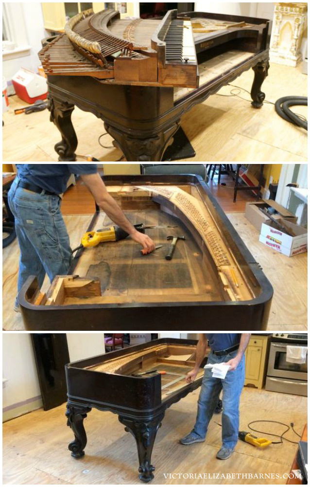We're repurposing an antique square piano into our KITCHEN ISLAND… it's the first step in our old Victorian house DIY kitchen remodel.